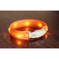 USB svítící obojek plochý XS-S 35cm/25mm oranžový